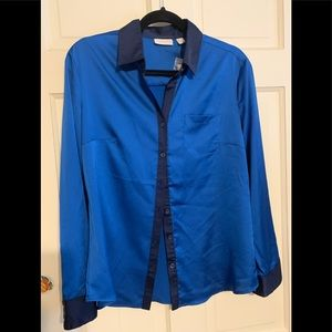 Blue and navy feels like silk button down blouse